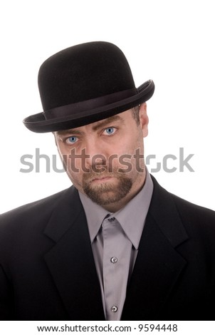 Man wearing a derby hat over a white background - stock photo