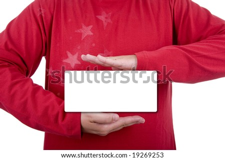 man wearing a red christmas shirt doing a hand sign - stock photo