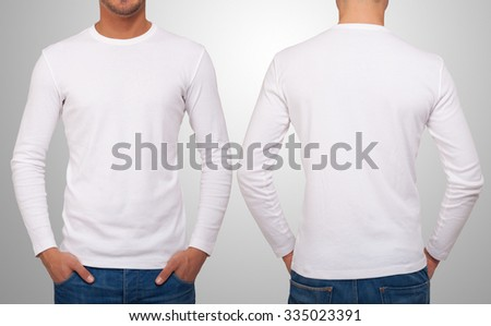 Man wearing a white t-shirt with long sleeves. Front and back version in the same image - stock photo
