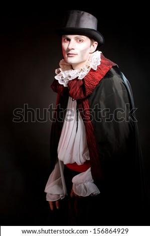 man  wearing  as  vampire  for  Halloween - stock photo