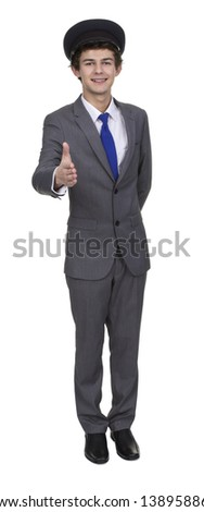 Man Wearing Cap Extending Hand To Shake Isolated Over White Background