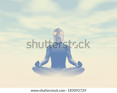 Man wearing gas mask meditating about pollution in foggy background - stock photo