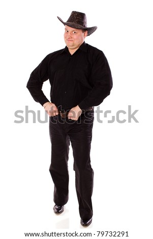 man wearing hat of cowboy standing isolated on white - stock photo
