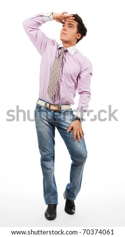 man wearing jeans, shirt and tie, isolated on white