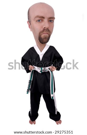 Man Wearing Karate Outfit over a white background - stock photo