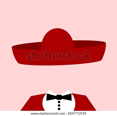 man wearing large mexican sombrero - stock photo