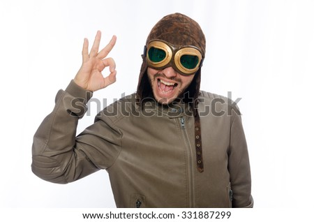 Man wearing pilot goggles isolated on white - stock photo