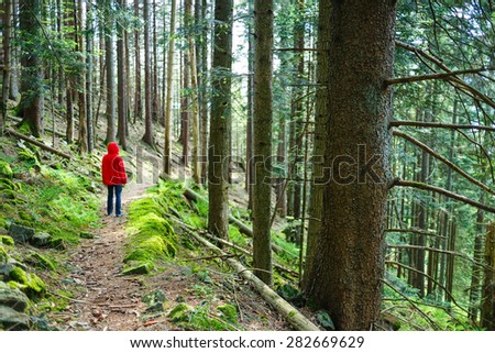 Man wearing red raincoat walking along a path in mountain forest - stock photo