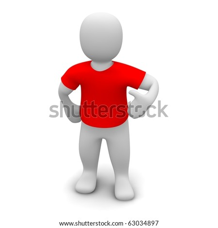 Man wearing red t-shirt. 3d rendered illustration. - stock photo