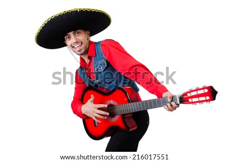 Man wearing sombrero with guitar