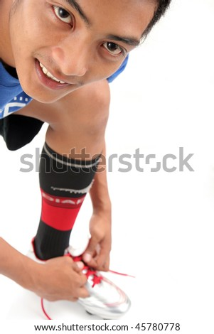 man wearing sport shoes - stock photo