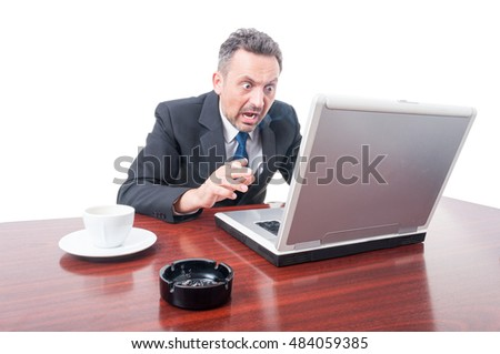 Man wearing suit at office being mad and shouting isolated on white background