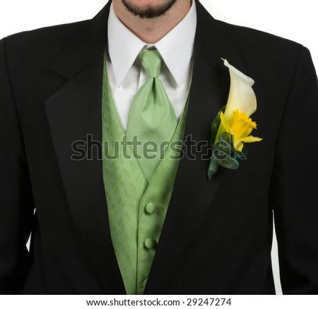 Man wearing tuxedo - stock photo