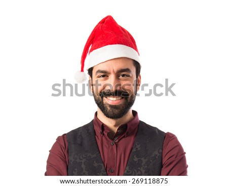 Man wearing waistcoat with christmas hat