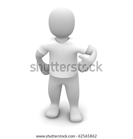 Man wearing white t-shirt. 3d rendered illustration. - stock photo