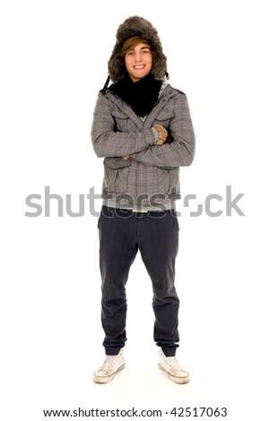Man wearing winter clothing - stock photo