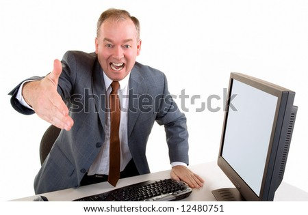 Man Welcoming or Showing his Appreciation and Wanting to Shake Hands - stock photo