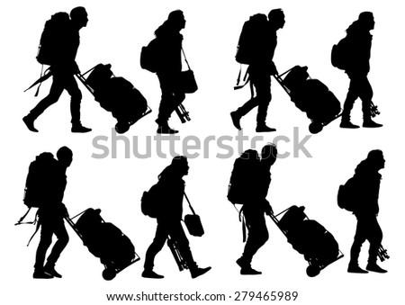 Man whit travel big suitcases on white background - stock photo