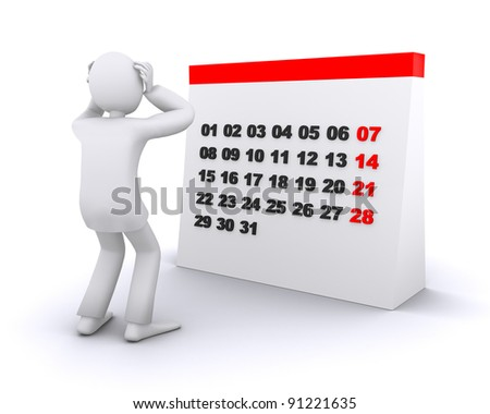 man who in a panic from time on calendar