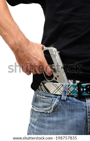 Man who pulls a gun tucked in his pants