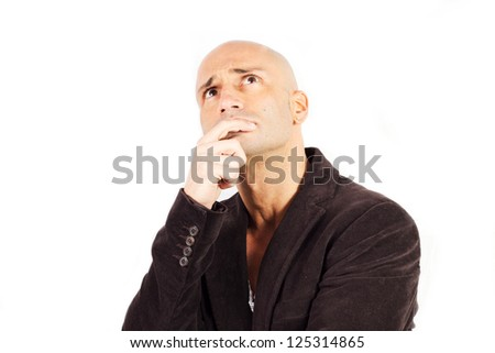 man who thinks on a white background - stock photo