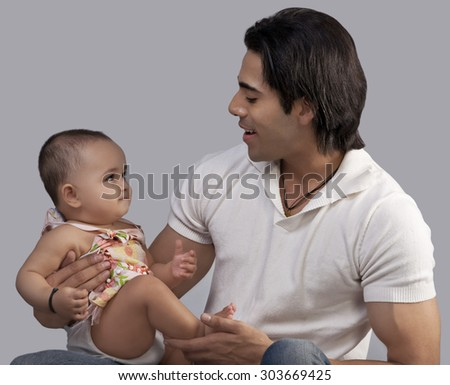Man with a baby - stock photo