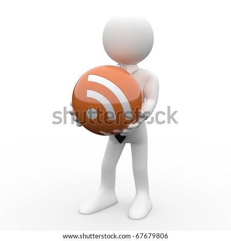 Man with a ball in his hands, with the logo RSS - stock photo