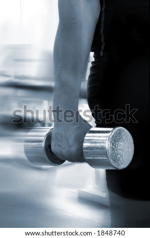 Man with a bar in hands - stock photo