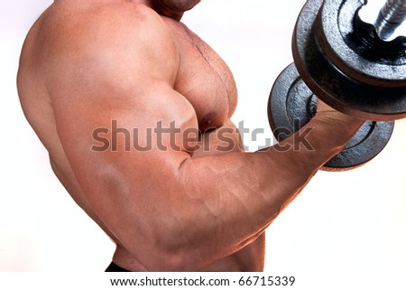 Man with a bar weights in hands training, isolated on white - stock photo