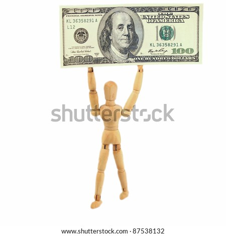 Man with a big 100 dollar bill in his hands - stock photo
