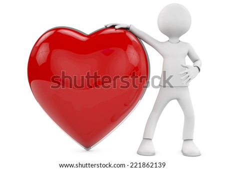 Man with a big generous heart. 3D Love or medical concepts. - stock photo