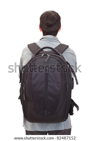 man with a big rucksack - stock photo