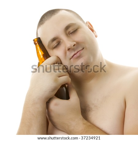 Man with a bottle of beer. - stock photo