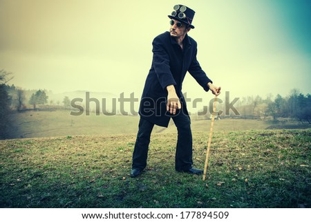 man with a cane - stock photo