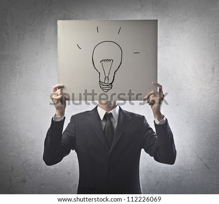Man with a cart board - stock photo
