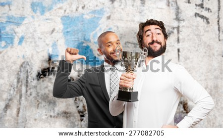 man with a champion cup - stock photo