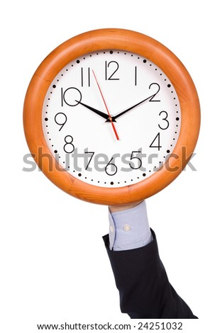 man with a clock isolated in white background