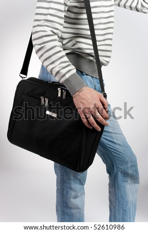 man with a computer bag - stock photo