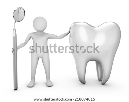 man with a dental mirror and a tooth on a white background - stock photo