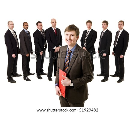 Man with a document in front of a group of men