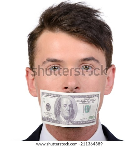 Man with a 100 dollar banknote on his mouth isolated on white background - stock photo