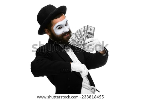 Man with a face mime screaming with delight with money isolated on a white background. concept concept- money in pocket,  money luck - stock photo