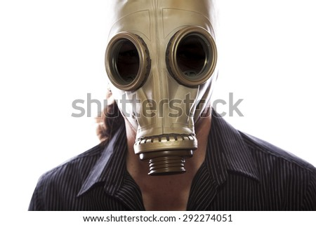 man with a gas mask