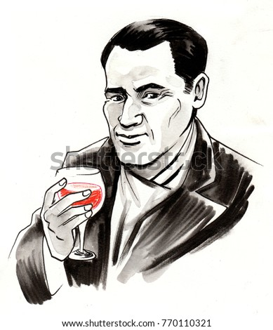 Man with a glass of red wine. Ink illustration