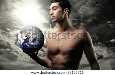 man with a globe - stock photo