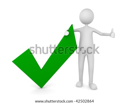 Man with a green tick mark; Concept for approval and acceptance - stock photo