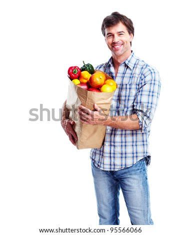 Man with a grocery bag. Isolated over white background.