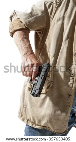 Man with a gun in his hand isolated on white background - stock photo