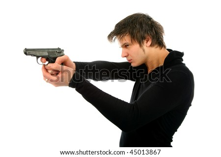 man with a gun isolated background - stock photo
