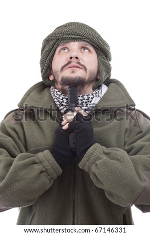 Man with a gun on his hand - stock photo